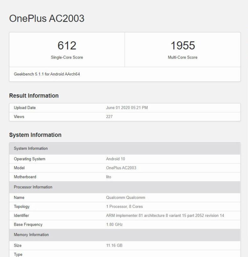 OnePlus Z (AC2003) Geekbench