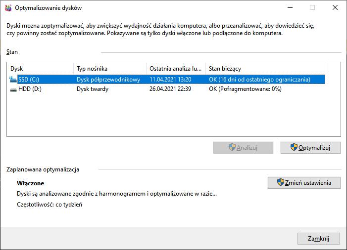 Co zrobić po instalacji Windowsa - ustawienia defragmentacji