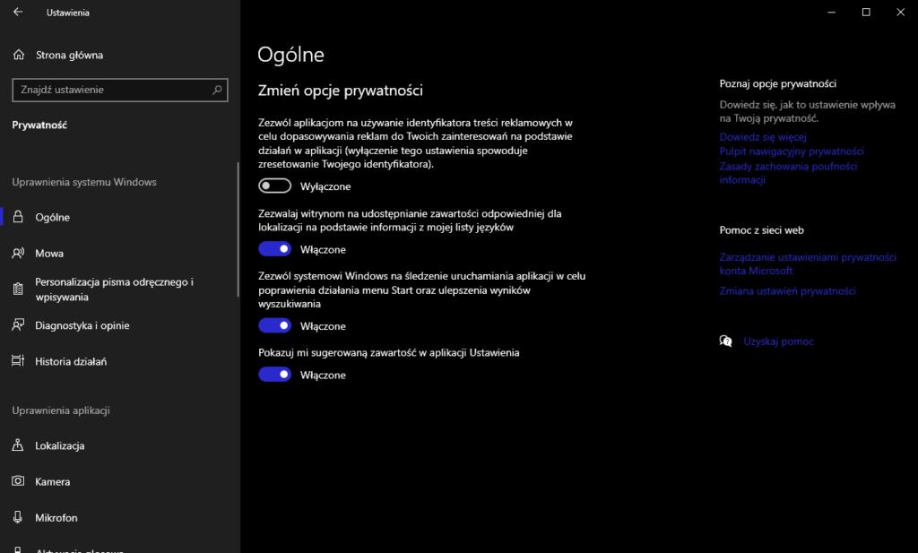 Co zrobić po instalacji Windowsa - ustawienia prywatności
