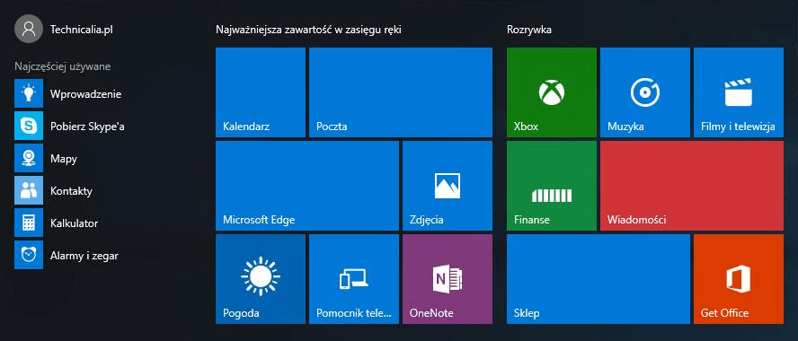 Windows 10, Menu Start